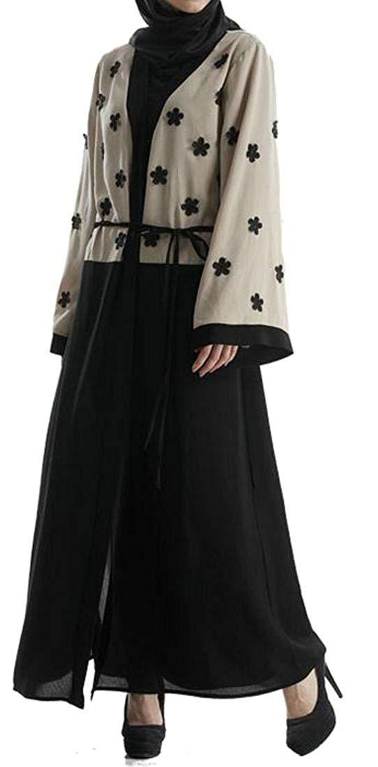 985ed57f705a9 Get Quotations · Etecredpow Women Vogue Abaya Muslim Contrast Turkish Gown  Loose Open Dress