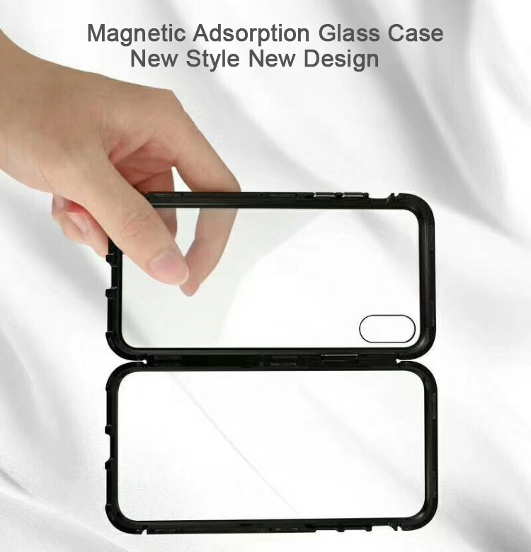 2018 Hot Tempered Glass Magnetic Adsorption Phone Case For iPhone X