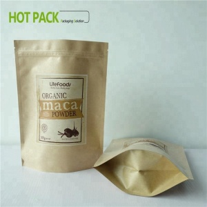 printed kraft paper dried fruit packaging / kraft paper stand up bags with window
