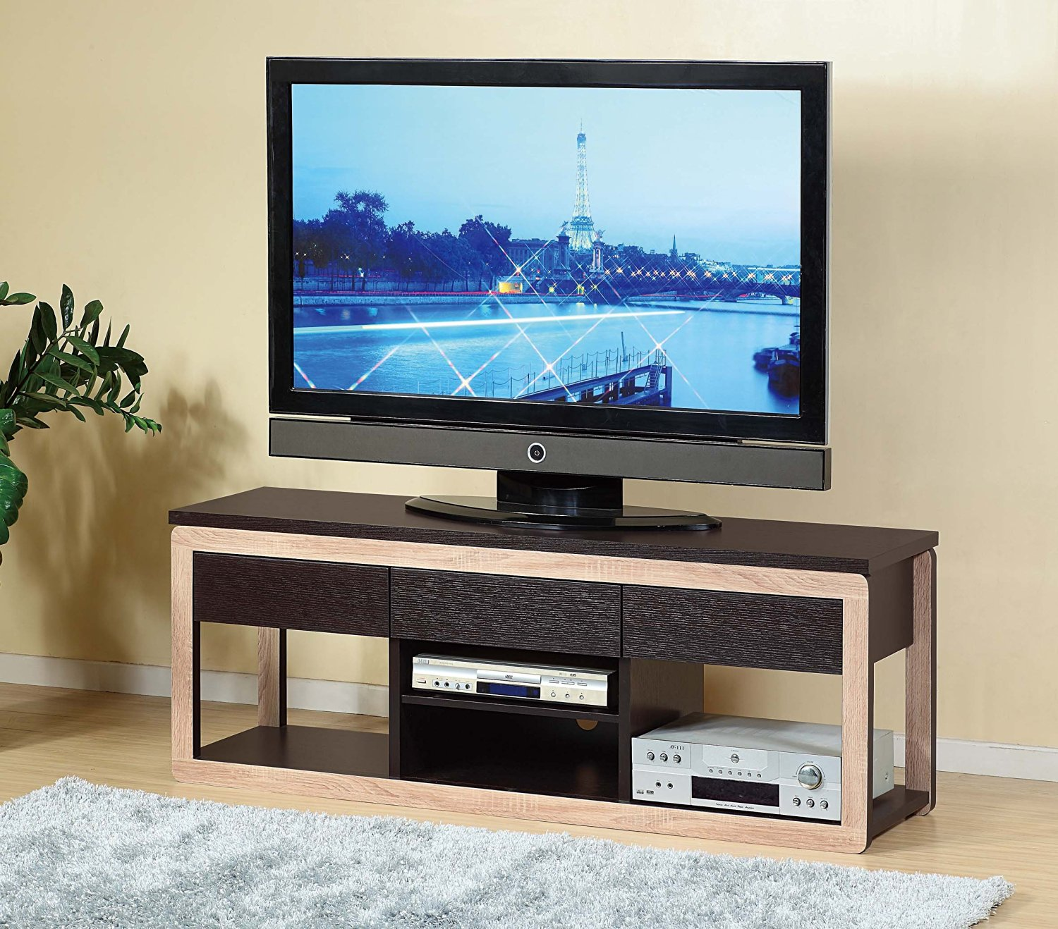 Delicieux ... 14889 Smart Home Furniture Espresso 60 Inch TV Stand With 3 Hidden  Srawers