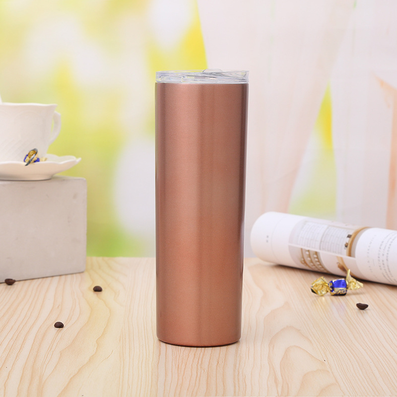 20oz Glass skinny tumbler stainless steel double wall Insulated coffee straw tumbler