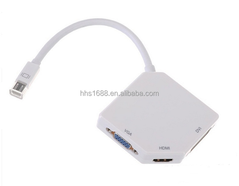 HHS 3 in 1 Thunderbolt to hdmi VGA DVI converter and Mini DisplayPort cable for Mac HDTV