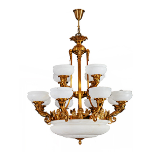 white marble circle brass chandelier three tires white pendant lighting with modern design