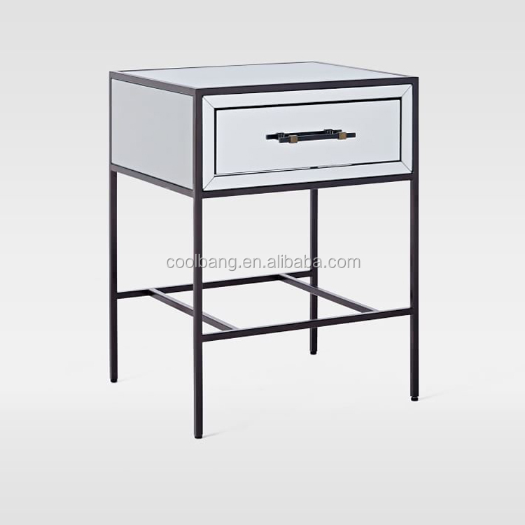 Venetian mirrored glass side nightstand table,acrylic nightstand with storage