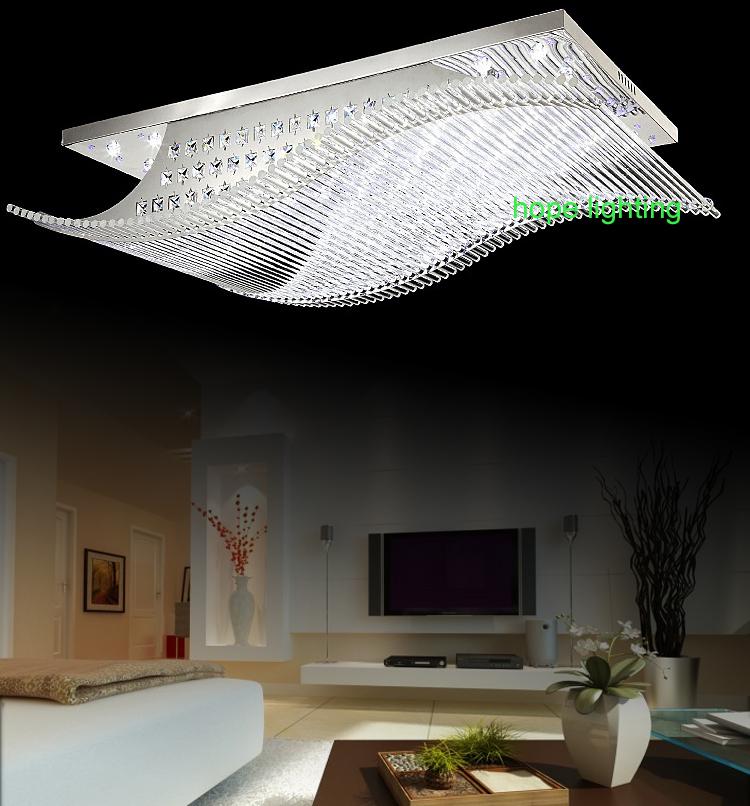 moderne rechteck deckenleuchte foyer wohnzimmer moderne kristall deckenleuchten fernbedienung. Black Bedroom Furniture Sets. Home Design Ideas