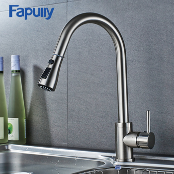 Fapully Brass Faucet Pull Out Single Lever Stainless Steel Sink Kitchen
