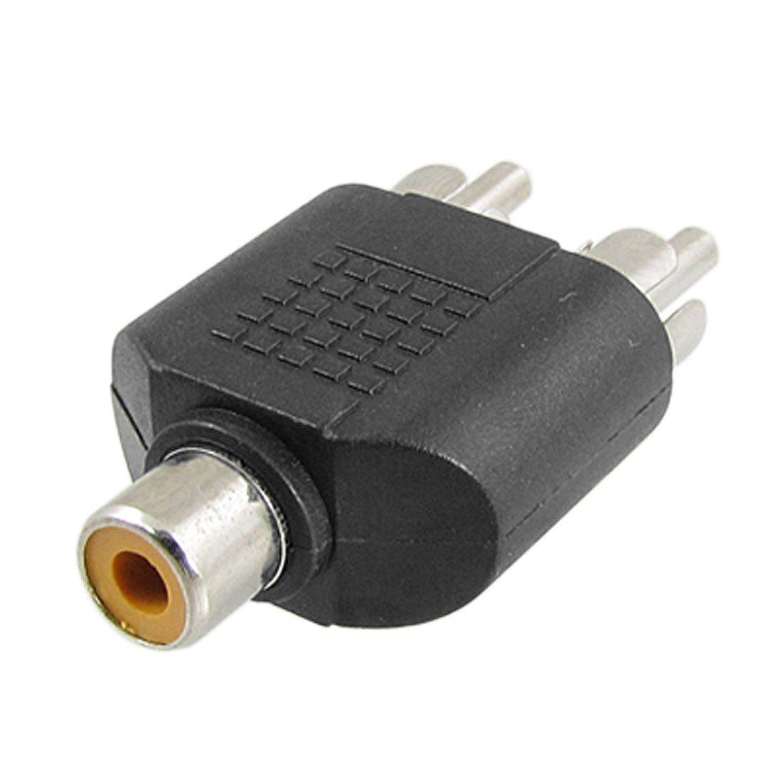 uxcell Audio Video AV RCA Male to 2-RCA Female Splitter Adapter 5pcs Black
