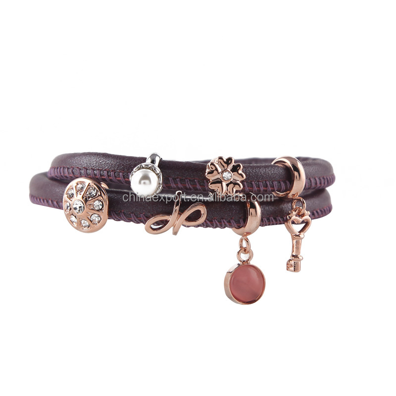 Women's gift vintage purple lambskin leather bracelet with magnetic closure