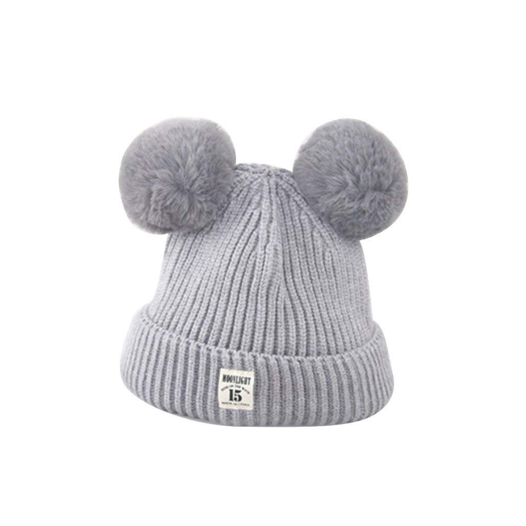 18bc14c0d36 Get Quotations · Academyus Fashion Baby Boys Girls Winter Warm Cap Cute Fur  Ball Ears Knitted Beanie Hat