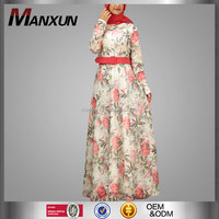 Muslim Design In Middle East Pakistani New Style Hijab Floral Printing Long Abaya Islamic Clothing Wedding Dresses