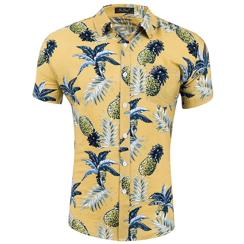 Summer single breasted button plant cotton men mens beach wear shirt shirts фото