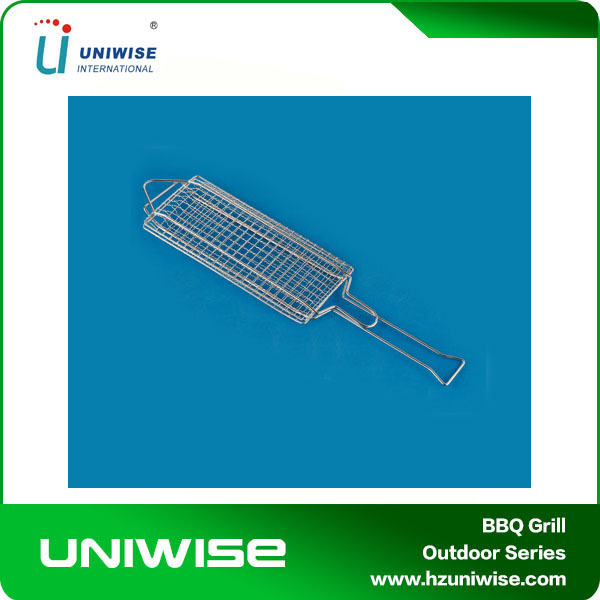 new BBQ Barbecue Fish Grilling Basket Folder Tool Roast for Fishes Meats Iron Chrome freeshipping