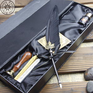 Small black Italian feather quill pen and Ink Set