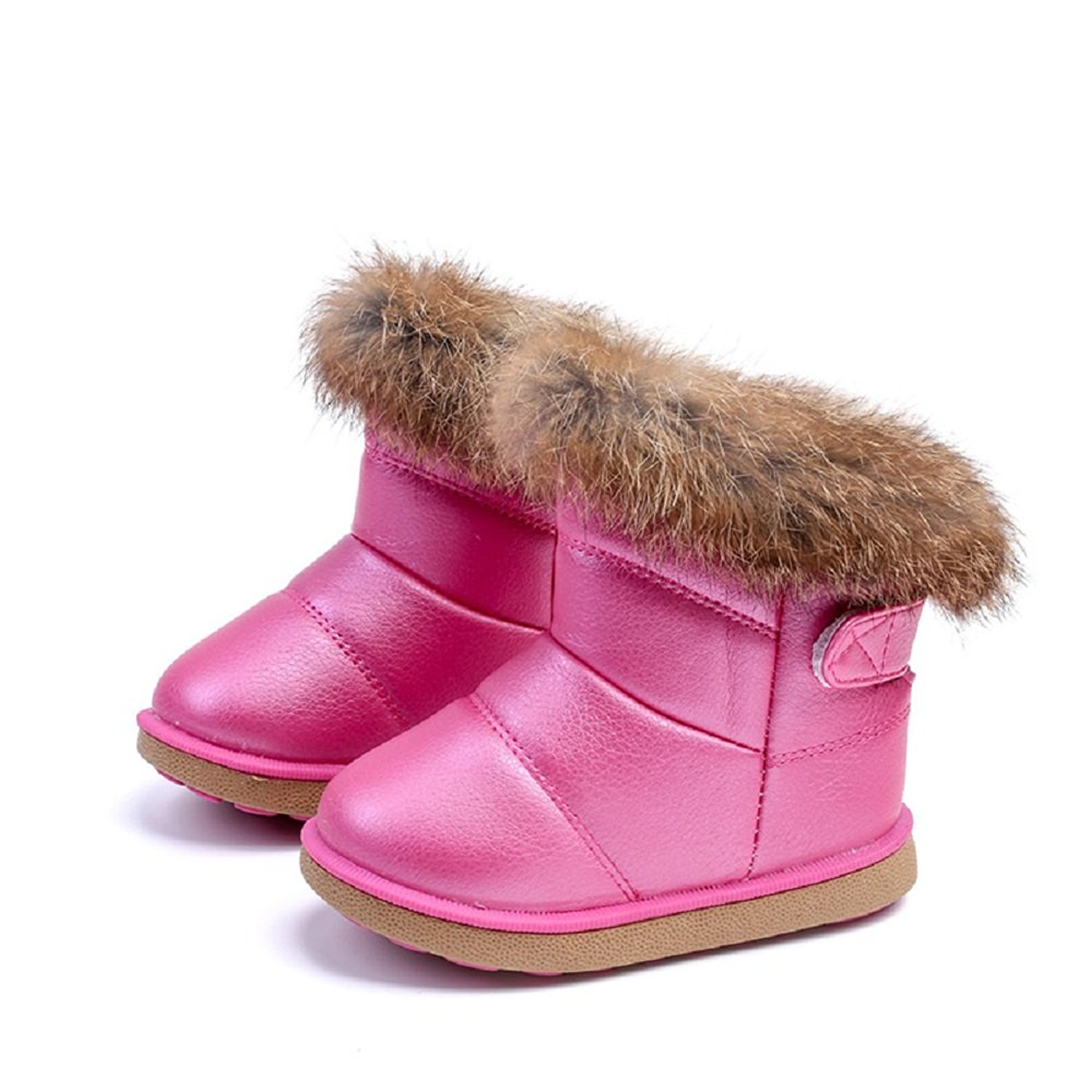 VECJUNIA Girls Boys Thick Suede Leather Snow Boots Outdoor Warm Short Plush Boot Toddler//Little Kid