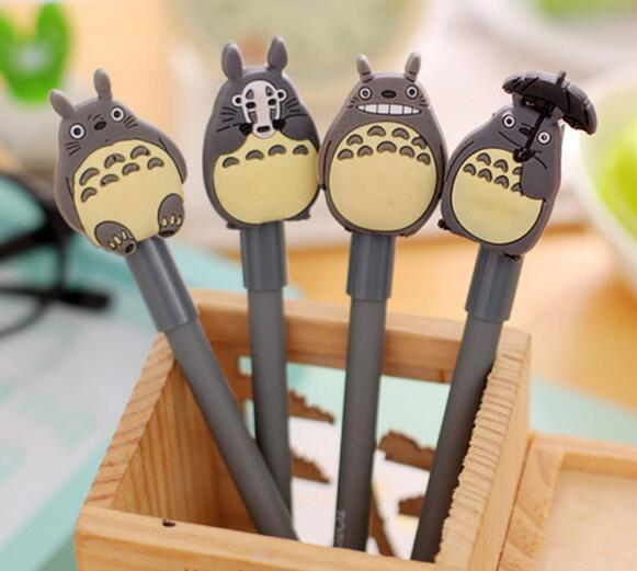 diy creative stationery kids personalized Novelty gel pen with japanese cartoon totoro topper cap sign pen slim ball point pen