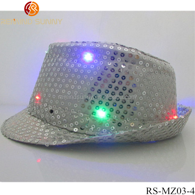 Fun Central LED Light Up Sequin Fedoras - Assorted Colors 12ct