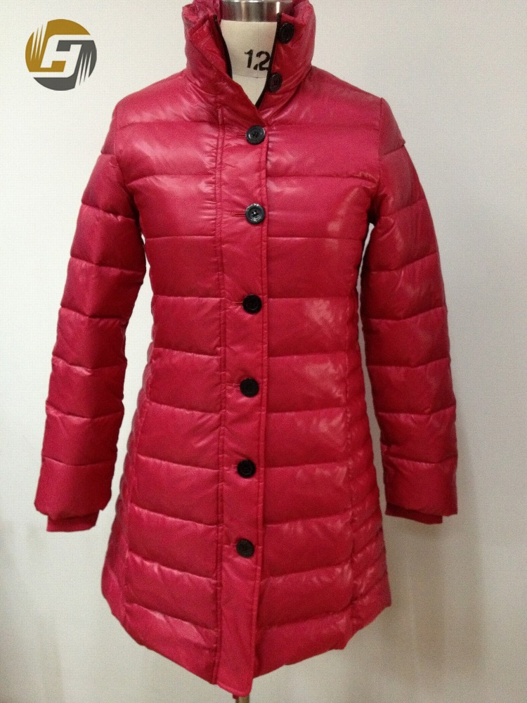 Hot sales red color womens long jacket with down filling