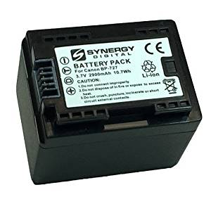 Canon VIXIA HF R300 Camcorder Battery Ultra High Capacity (Li-Ion 3.6V 2900mAh) - Replacement for the Canon BP-727 Camera Battery - Fully Decoded