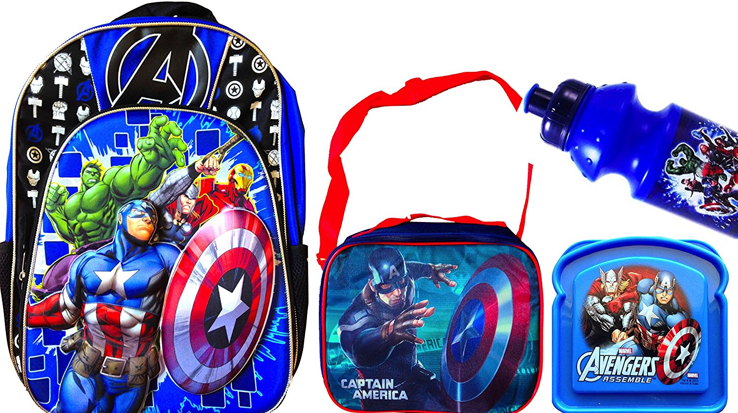 """Back to School Children's Backpack 16"""" Character Themed Back to School 3d Graphic Backpacks with Matching Children's Lunch Boxes Water Bottle and Sandwich Container (MARVEL THE AVENGERS)"""
