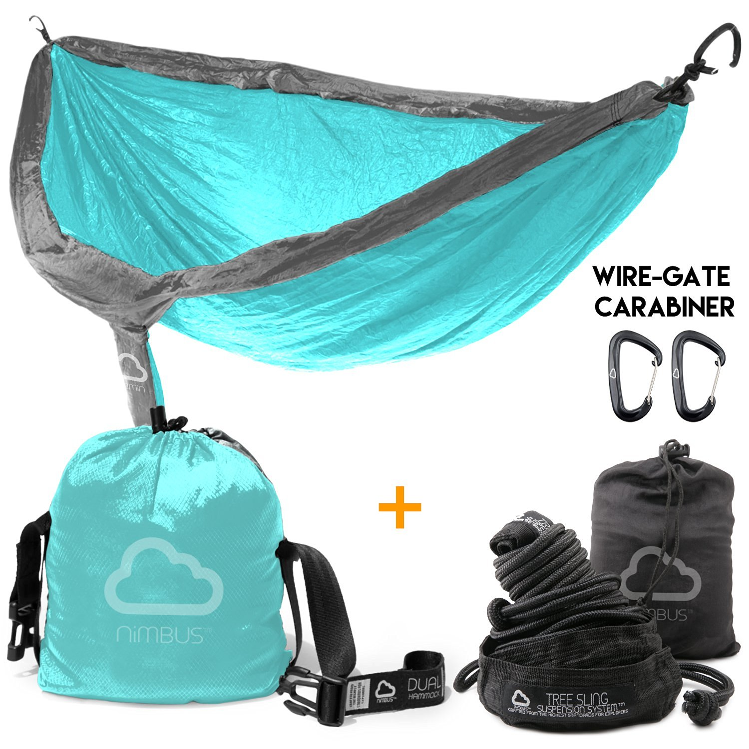 HOLIDAY SALE!!! Ends Today! - Double Outdoor Camping Nylon Hammock with Suspension Kit & Premium Carabiner [Complete Hammock Set] - Designed in USA | Top Rated | Built to Last | by Nimbus Hammock