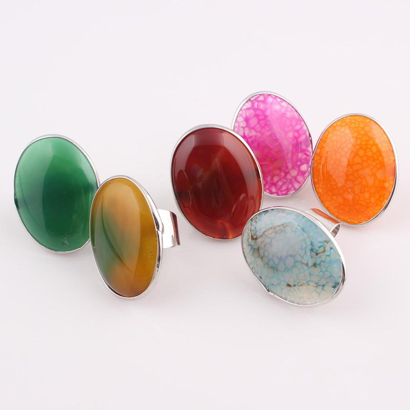 4-Piece Multi-Colored Agate Ring Set 1o5CBIxH4s