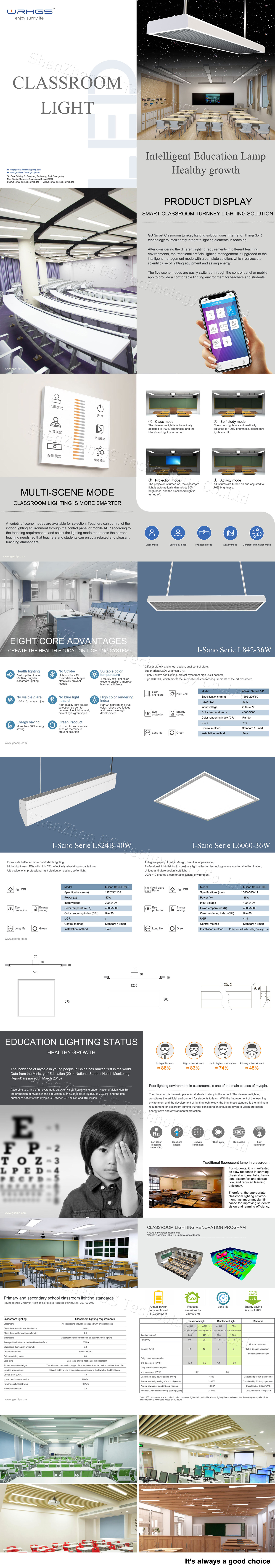 New designed led classroom linear lights anti glare 36w 40w office educational low bay led tube fixture RA 90