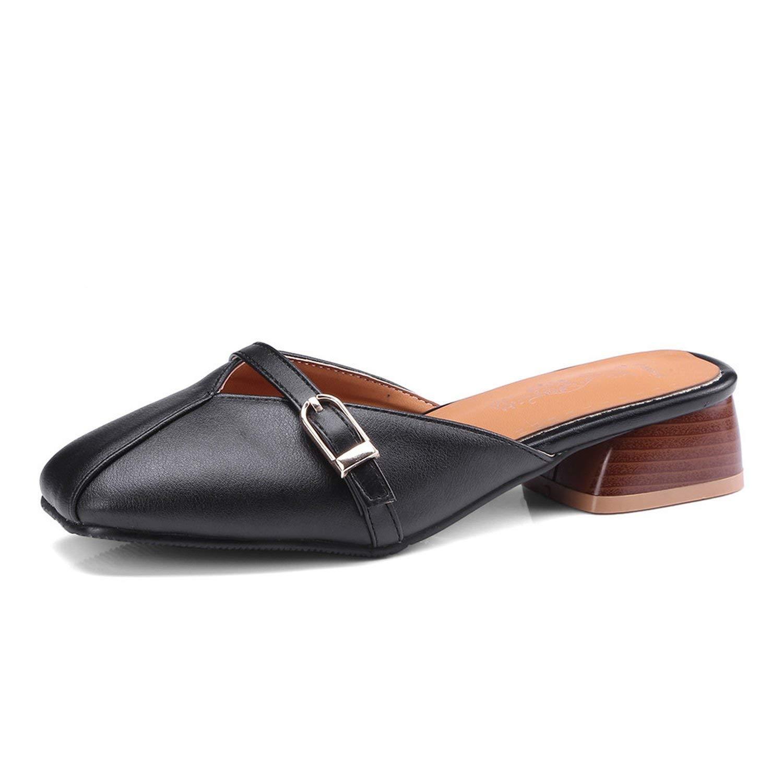 Baolustre Slippers Women Pu Summer Outside Big Size 33-46 Square Toe Mules Shoes