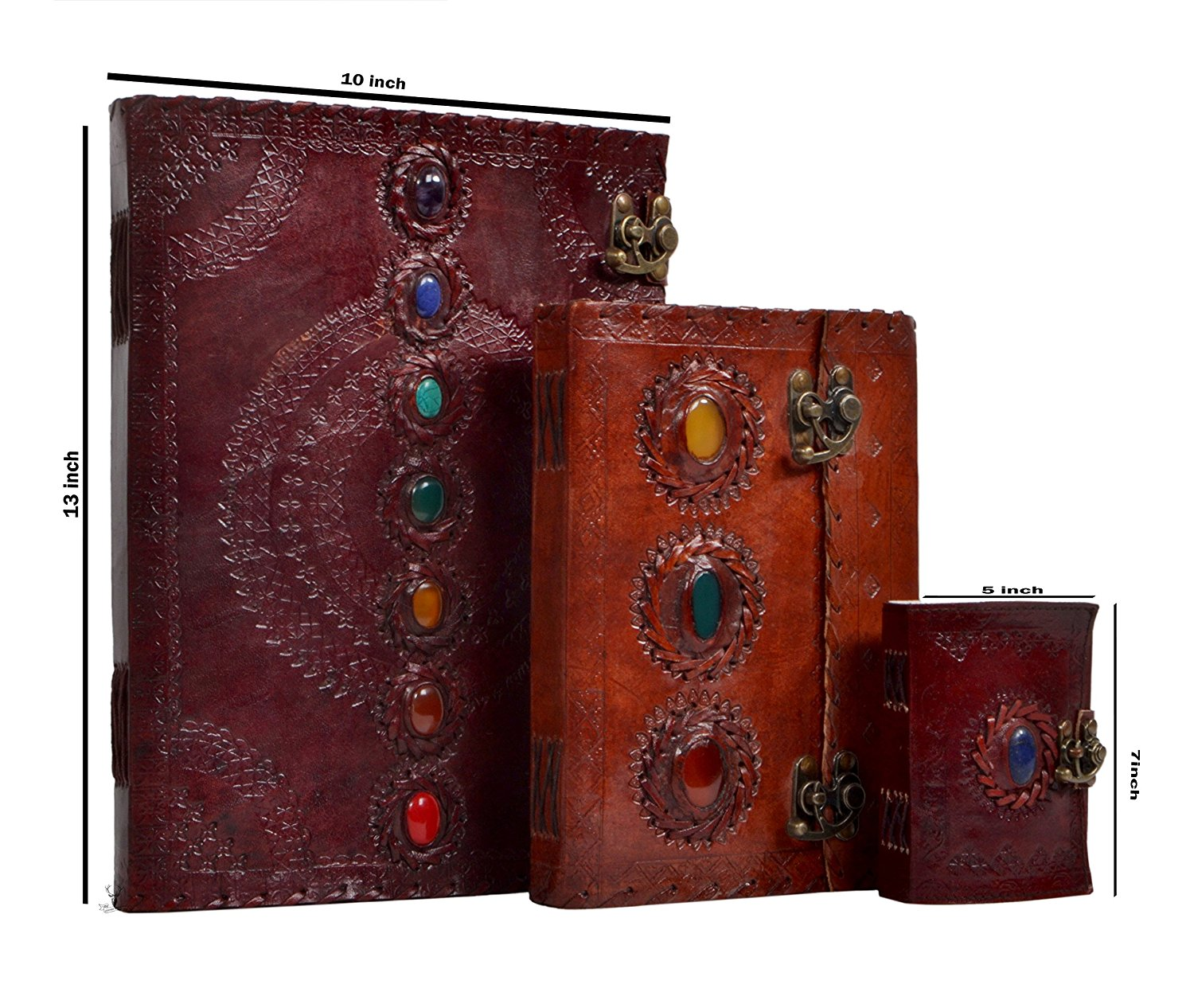 Leather Journal Handmade Medieval Stone Embossed Set of Three Handmade Leather Journal Travel Diary Handmade Notebook for Men & Women Antique Quality Blank Paper & 120 Pages