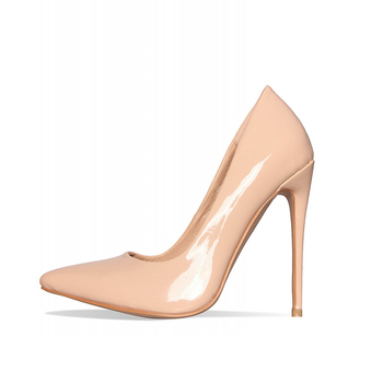 Classic Nude Color Pointed Toe Office Shoes Patent High Heel Pump ...