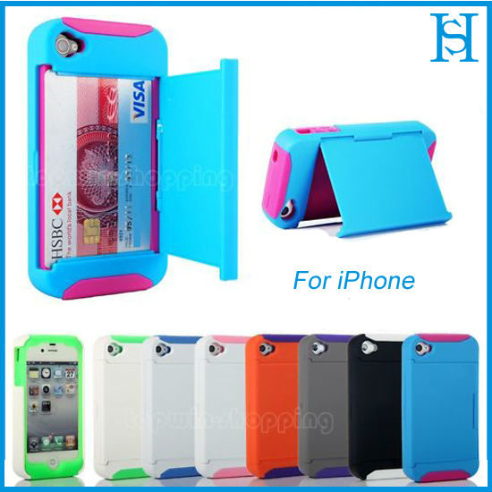 Credit Card Hard Shell Stand Combo Case Cover For iPhone 4 4G 4S