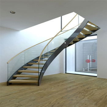 Superbe Double Steel Stringer Wood Step Curved Stairs With Glass Handrail