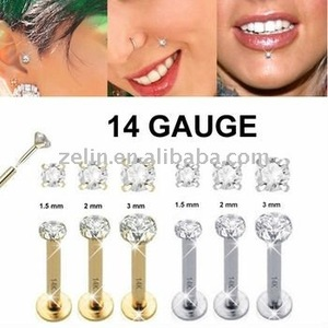 Hot Gold Plated Crystal Customized Nose Ring Lip Labret Gay Piercing Body Jewelry