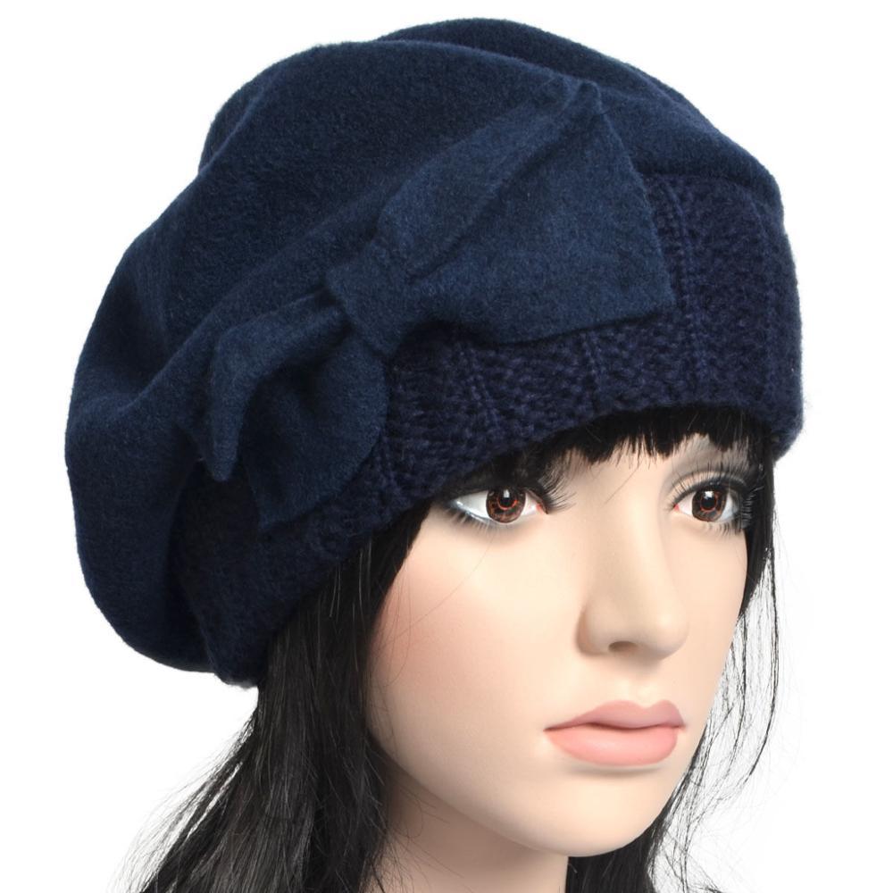 9fa9cd29bda Women French Beret Chic Girl Wool Knit British Beanie Felt Tam Winter Hat