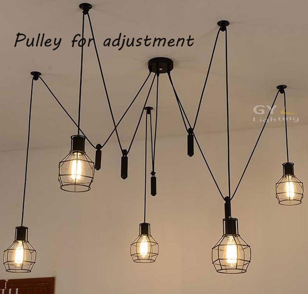 acheter ac100 240v 5 pcs e27 poulie pendentif lustre moderne loft vintage bar. Black Bedroom Furniture Sets. Home Design Ideas
