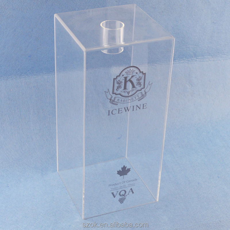 high grade clear acrylic printed logo wines packaging display box for showoing wholesale