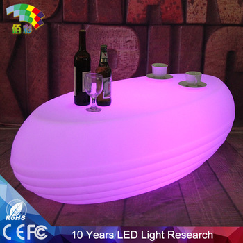 new design for bar led plastic tea table with glass top high quality