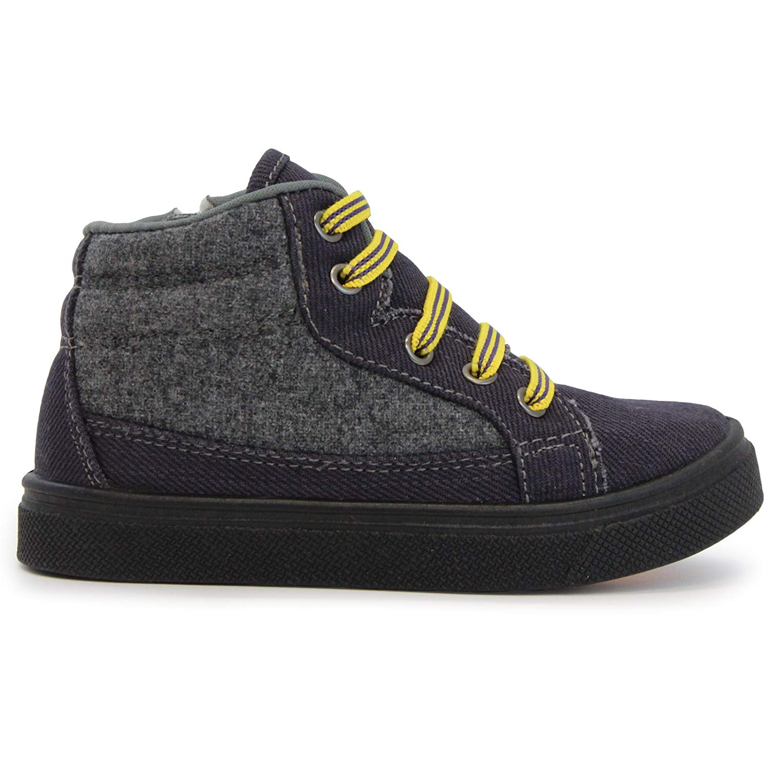 97f6ca9769c4a Get Quotations · Oomphies Tyler Elastic Stretch Lace Navy Grey High-Top Shoe