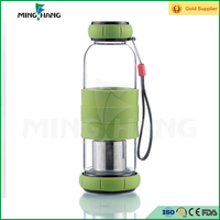 Wholesale glass drinking water bottle custom glass juice bottle with silicone cover