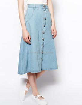 cf171748e Mulheres por atacado de algodão uma linha de saia jeans saia midi em denim