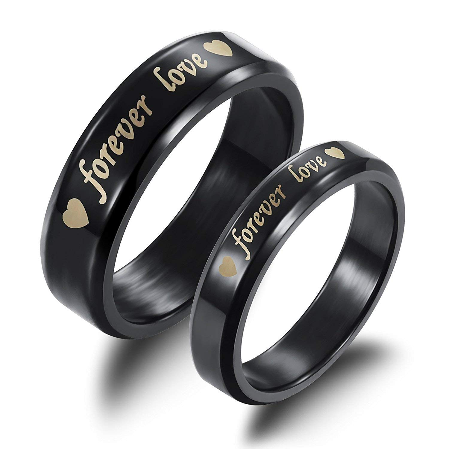 8097db9e8f Get Quotations · JAJAFOOK 2PCS/PACK Stainless Steel Black Forever Love  Double Heart Couples Promise Ring Romantic Couples