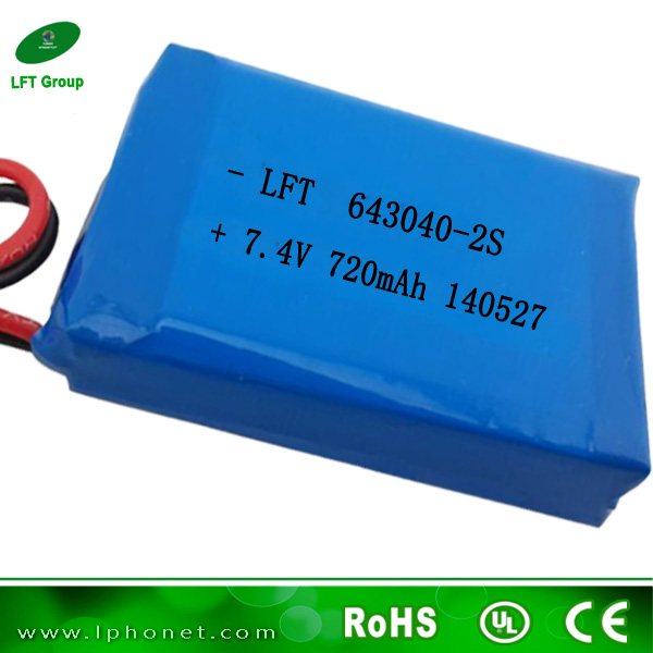 643040 2S 720mAh 7.4v lithium ion battery pack dvd battery from shenzhen