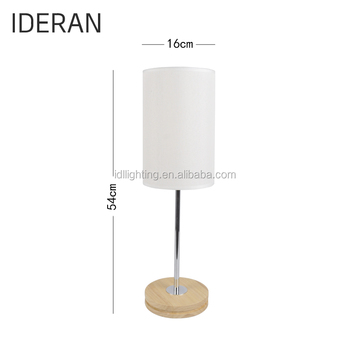 Modern Chrome Wood Table Lamp Fabric Shade Desk