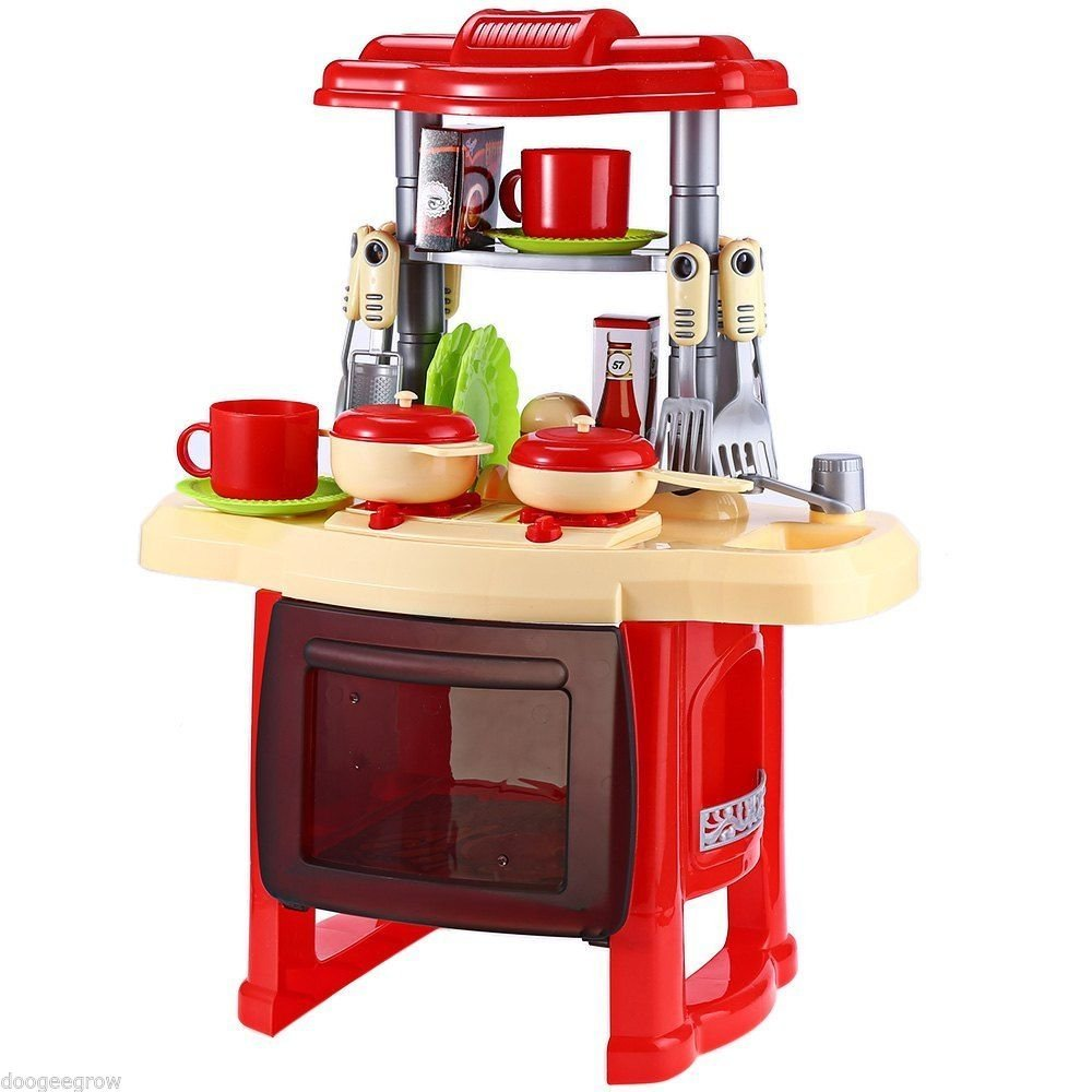 NEW Kids Kitchen Cooking Pretend Role Play Toy Set With Light Sound Effect Gift