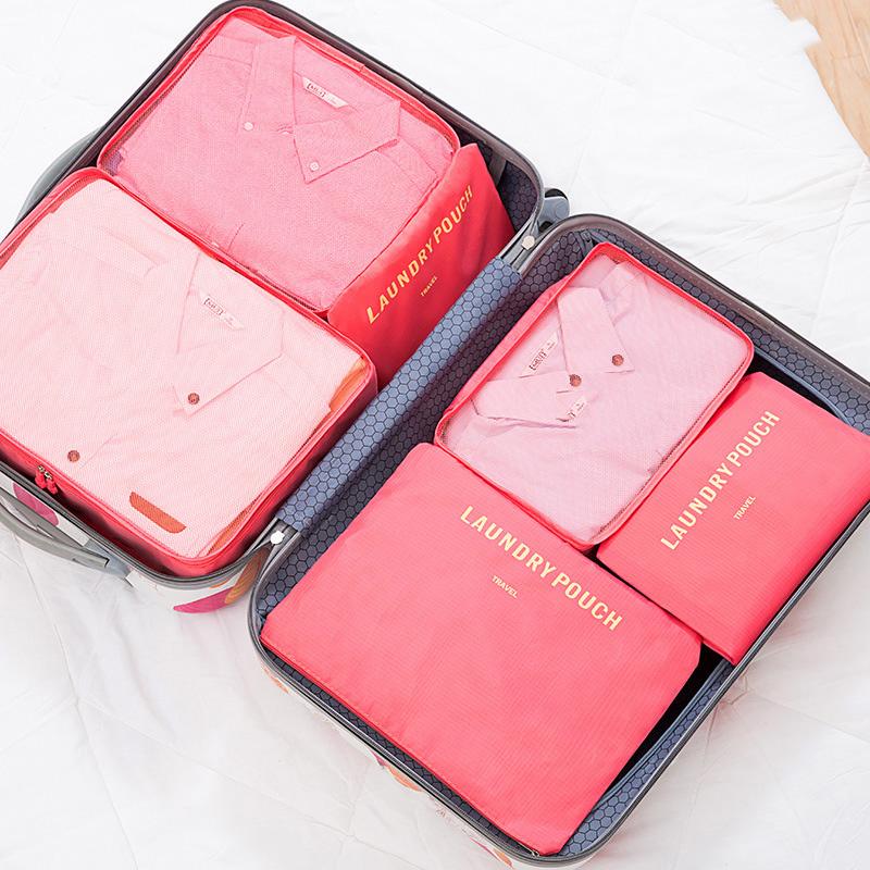 Venta al por mayor 6 unids/set los hombres de las mujeres bolsa de viaje impermeable cubos de embalaje de equipaje ropa ordenado clasificación bolsa Portátil Bolsa de organizar