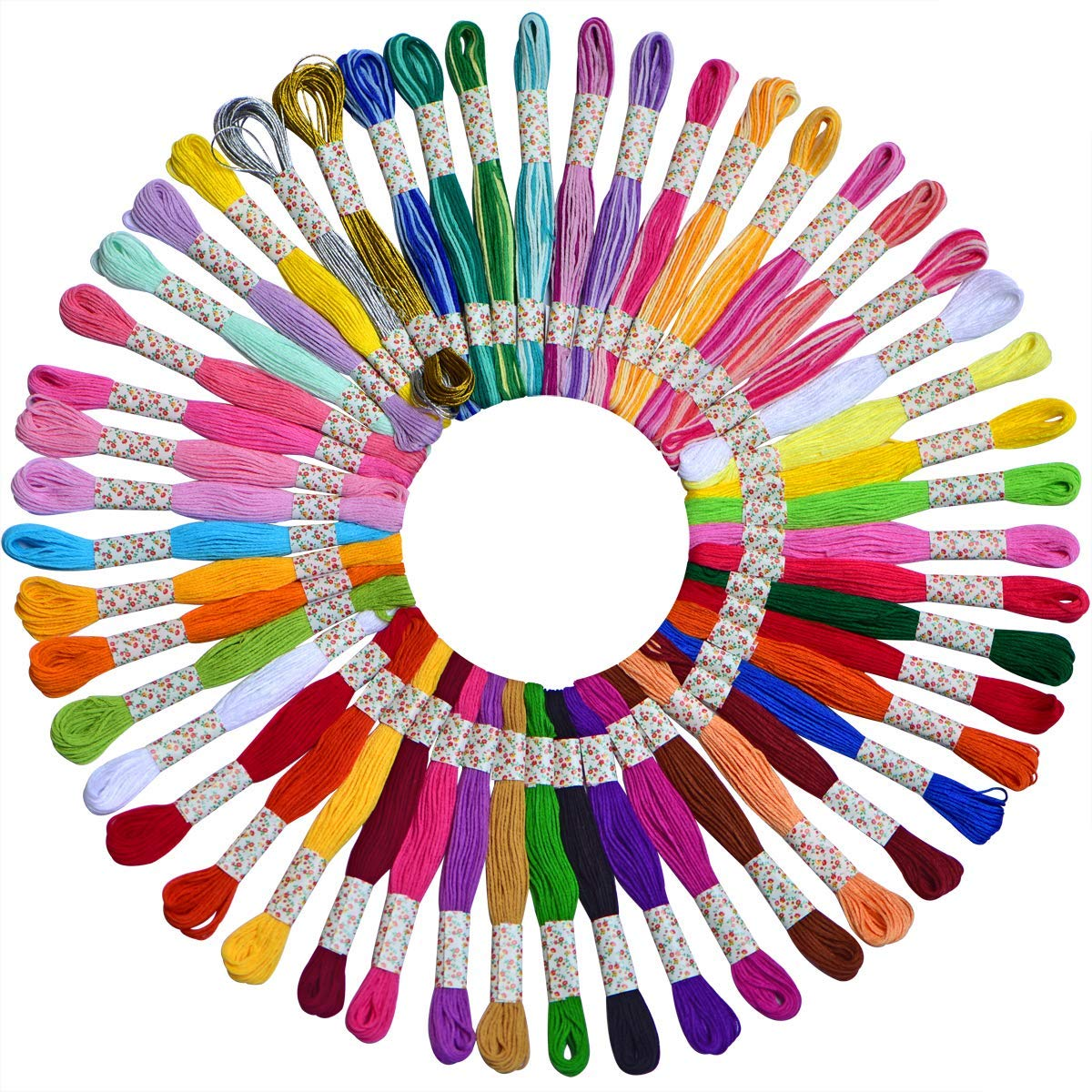 Electop Embroidery Floss 100 Skeins with 34 Pieces Cross Stitch Tool Kit Rainbow Color Cross Stitch Threads Friendship Bracelets Floss String Crafts Floss