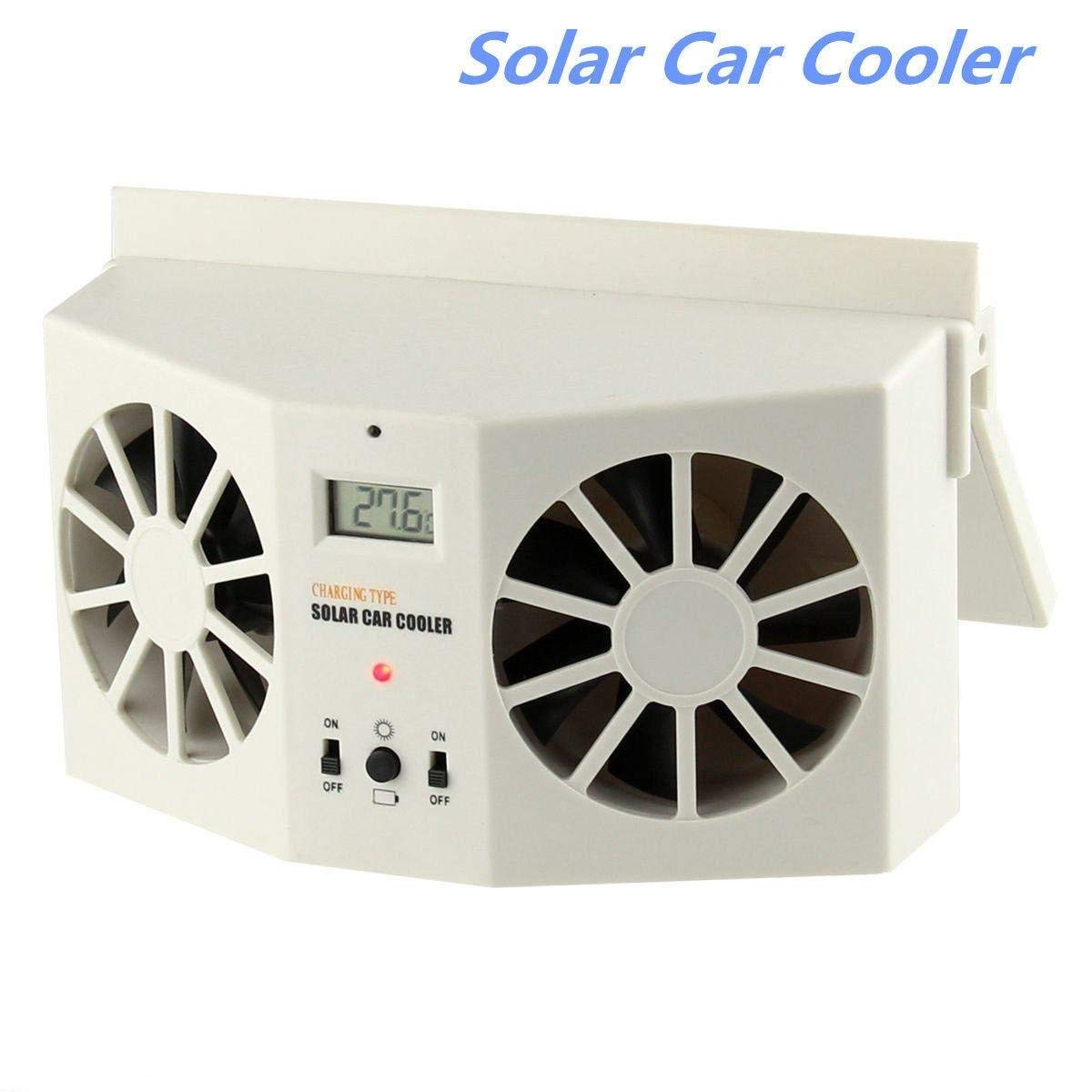 Solar Powered Car Cooler Fan,Silence Shopping Auto Front/Rear Window Air Radiator Vent Exhaust Fan (White-(2AA Batteries Not Included))