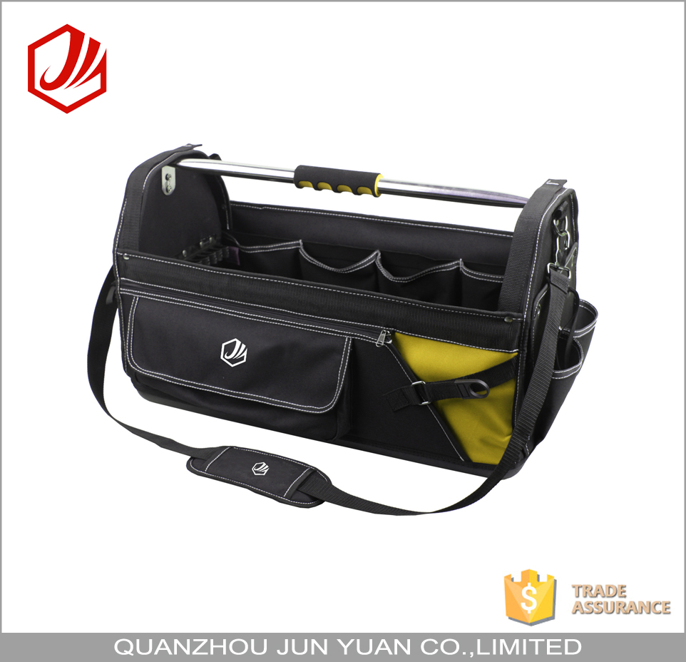 Durable large heavy duty tote tool bag with shoulder strap