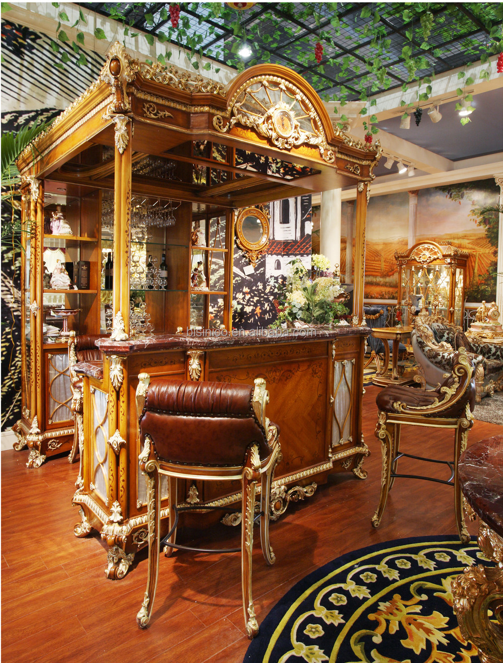 Luxury French Style Baroque Home Bar Furniture European Clic Mini Wooden Hand Carved Cabinet Table Stool