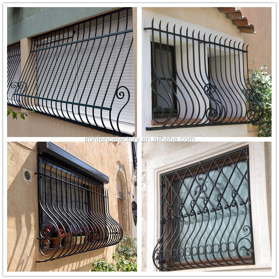2016 factory direct price latest simple modern iron window for Modern zen window grills design
