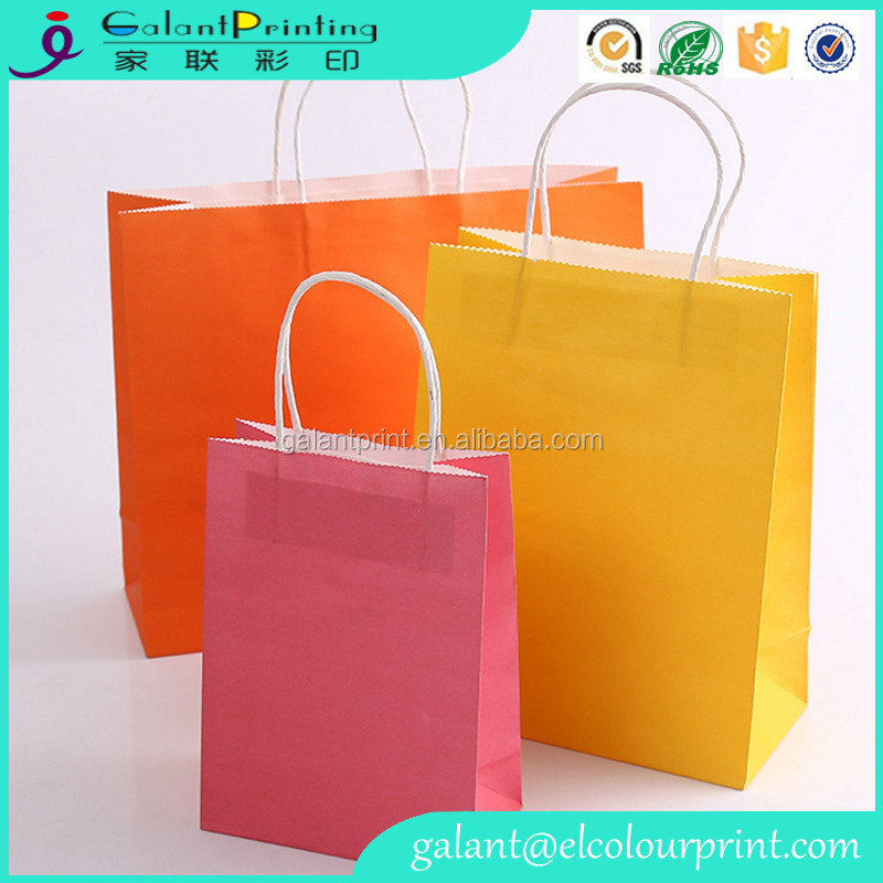 Bright Kraft Paper Party Bags Gift Bag With Handles Recyclable Birthday Loot Bag